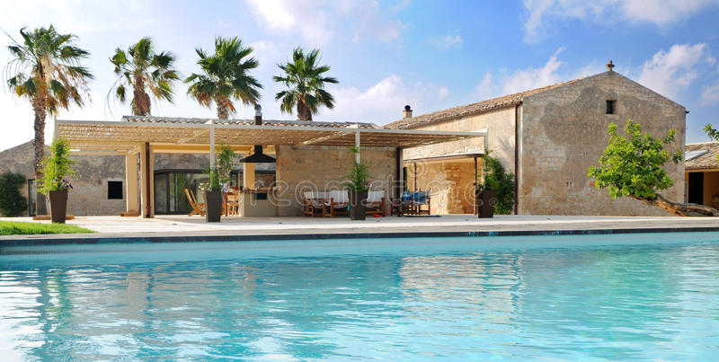 Luxurious Villa. A luxurious villa with a swimming pool in Sicily stock photography