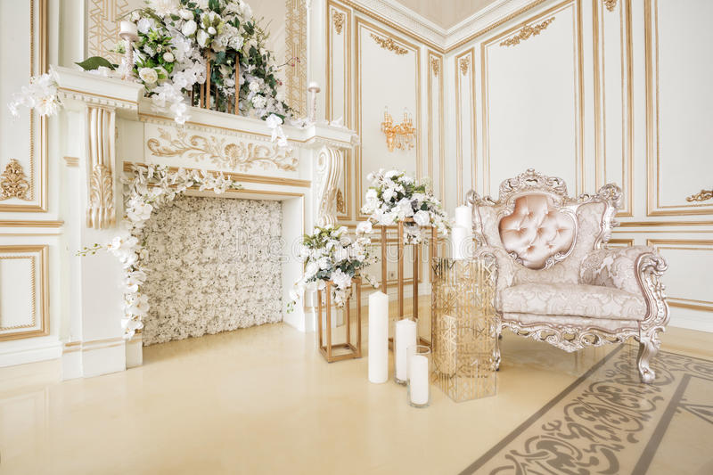 Luxurious vintage interior with fireplace in the aristocratic style royalty free stock photo