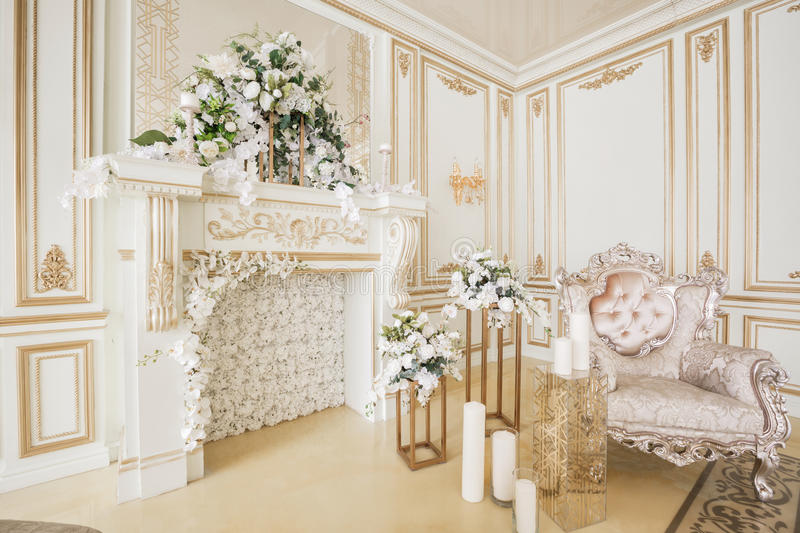 Luxurious vintage interior with fireplace in the aristocratic style royalty free stock photos