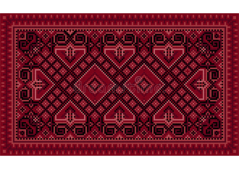 Luxurious vintage oriental carpet with maroon shades. Luxurious vintage oriental carpet with maroon,red and pink shades stock illustration