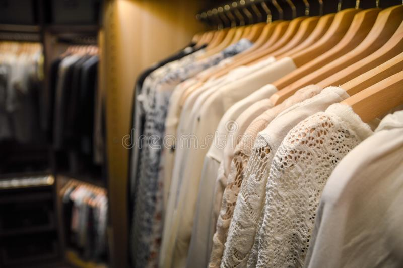 Walk in closet. Hangers in dressing room. stock photography