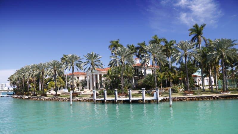 Luxurious Waterfront Home Miami royalty free stock photo