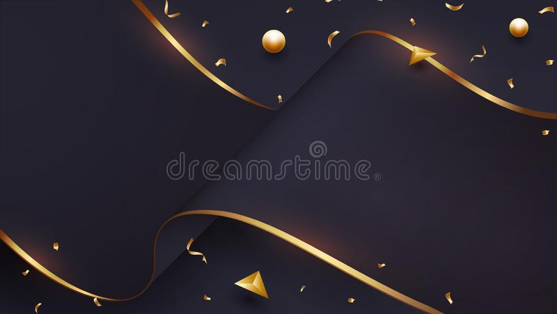 Luxurious wave paper background with a blend of black and gold. Eps10 vector illustration stock illustration