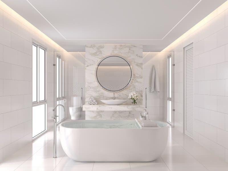 Luxurious white bathroom modern style 3d render vector illustration