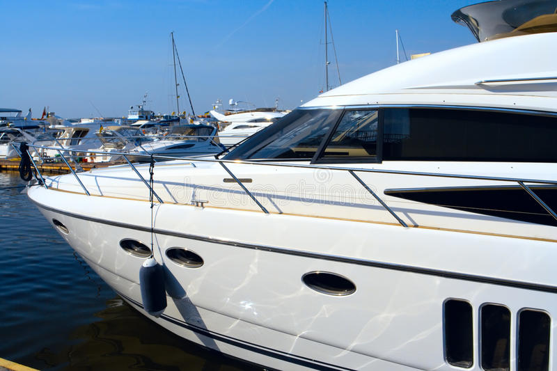 Luxurious White Yacht Royalty Free Stock Photos