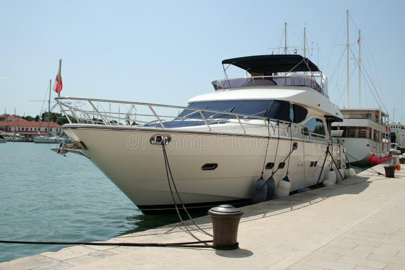 Luxurious yacht. Docked in Trogir stock photo