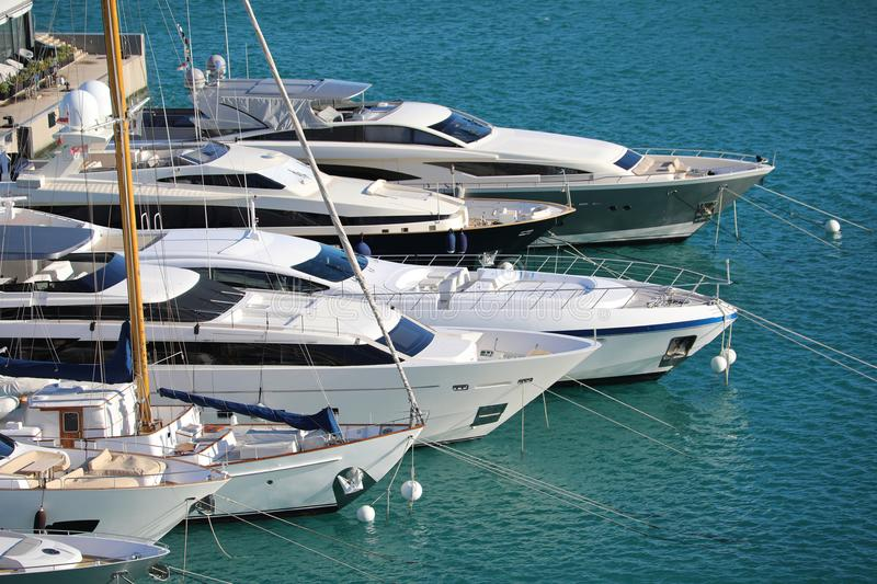 Luxurious Yachts And Megayachts Lined Up In Monaco