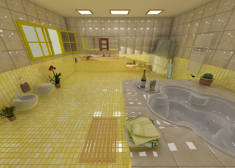 Luxurious yellow bathroom in a spa. Luxurious bathroom in a spa, with champagne, plants and opened windows stock illustration