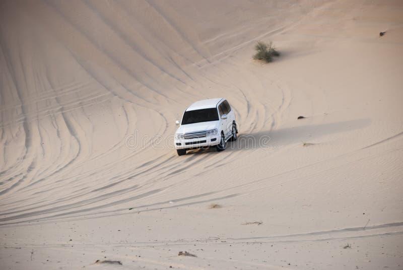 Luxurous白色SUW在沙漠徒步旅行队的所有轮子驱动4x4在赛跑在阿拉伯半岛在沙子的旅行集会的沙丘exreme在体育 免版税库存照片