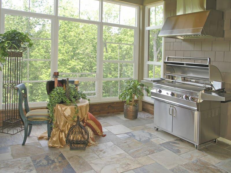 Luxury 3 - Patio 2. Luxury House with regal elegant covered outdoor patio stock photos