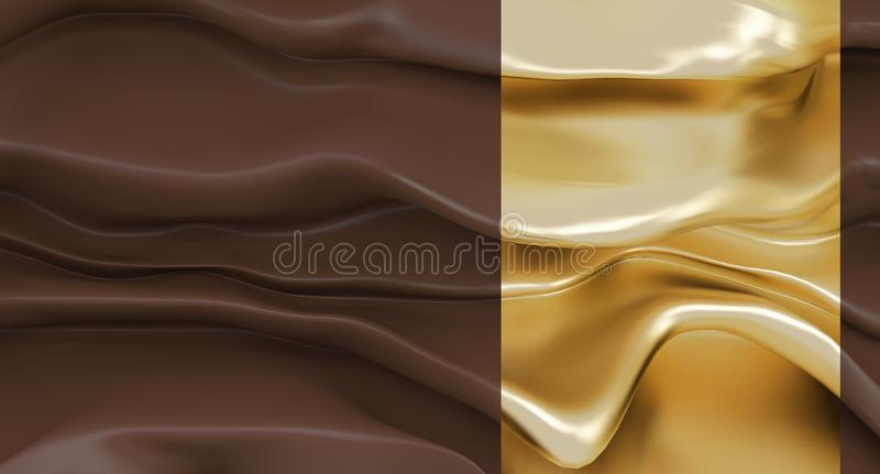 Luxury abstract brown background with gold segment. Abstract melting brown wall. Current thick chocolate. royalty free illustration