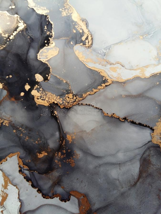 Free Luxury Abstract Fluid Art Painting Background Alcohol Ink Technique Black And Gold Stock Photo - 159855250