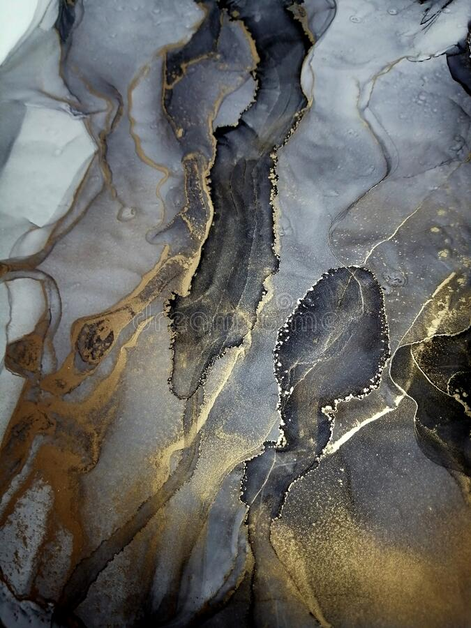 Marble And Gold Foil Mixing Acrylic Alcohol Ink Art Abstract Background Fluid Art Painting Fashionable Stone Modern Wall Decor