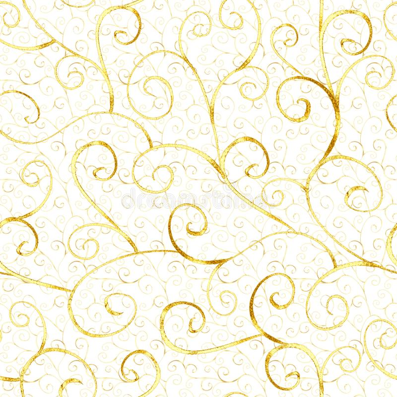Luxury abstract gold seamless pattern. In oriental style on white background. Can be used for wallpaper, wrapping, textile, web page background stock photos