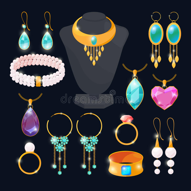 Luxury accessories for jewelry. Rings of gold, diamonds, ruby. Vector pictures set isolate royalty free illustration