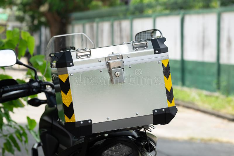 Luxury Aluminium Tail Luggage on the Touring Adventure Motorcycle in the Local Area Travel.  royalty free stock photos