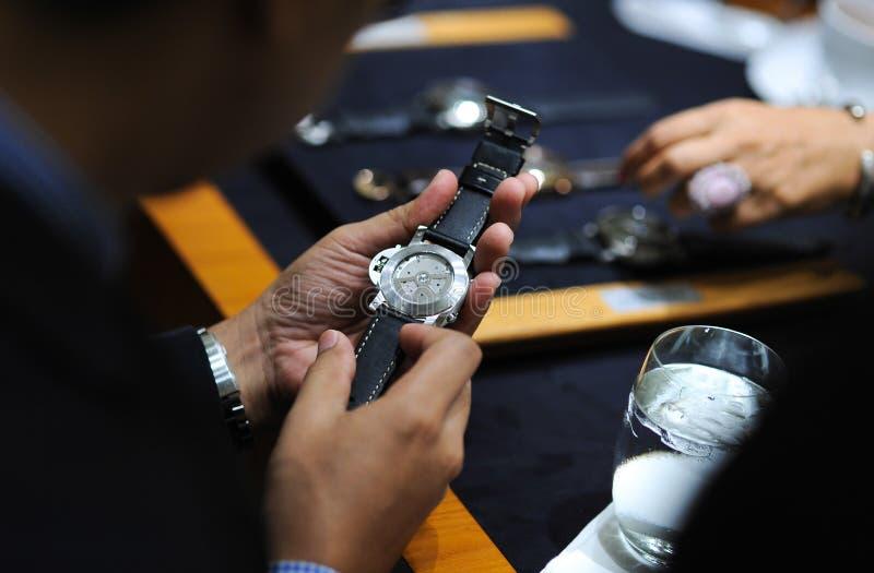 Luxury antique watch. On hand stock photo