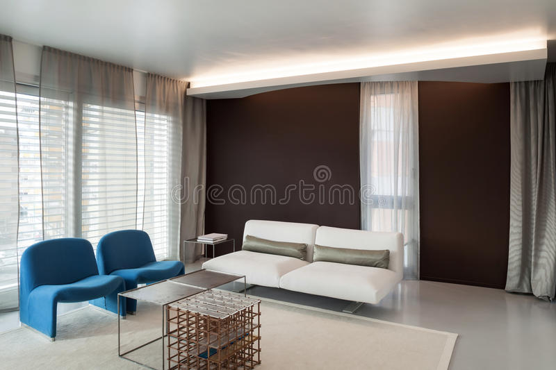 Luxury apartment, comfortable living room royalty free stock photos