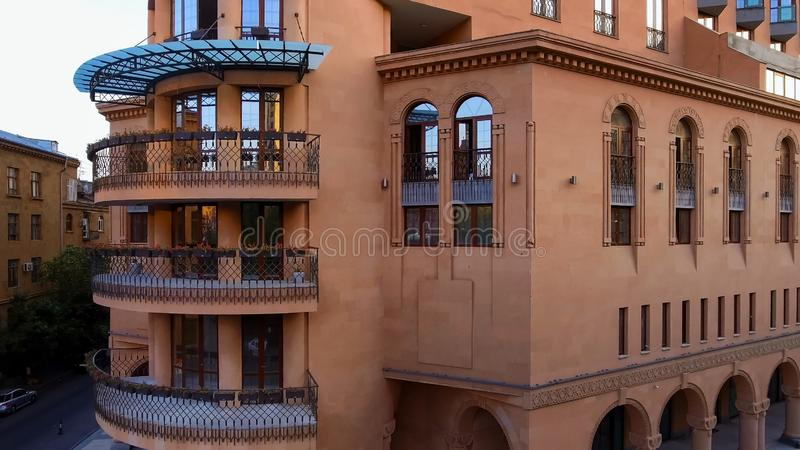Luxury apartment complex in Yerevan, Armenian real estate for rent, aerial view royalty free stock photography
