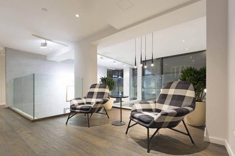 Luxury apartment interior, resting area.  stock image