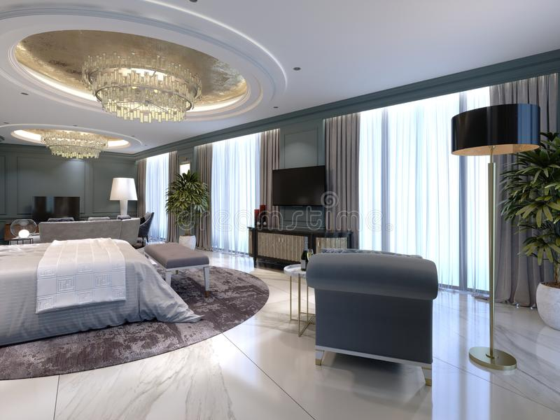 Luxury apartments with a bedroom and living area in contemporary style with classic elements, blue walls and light furniture. 3d rendering royalty free illustration