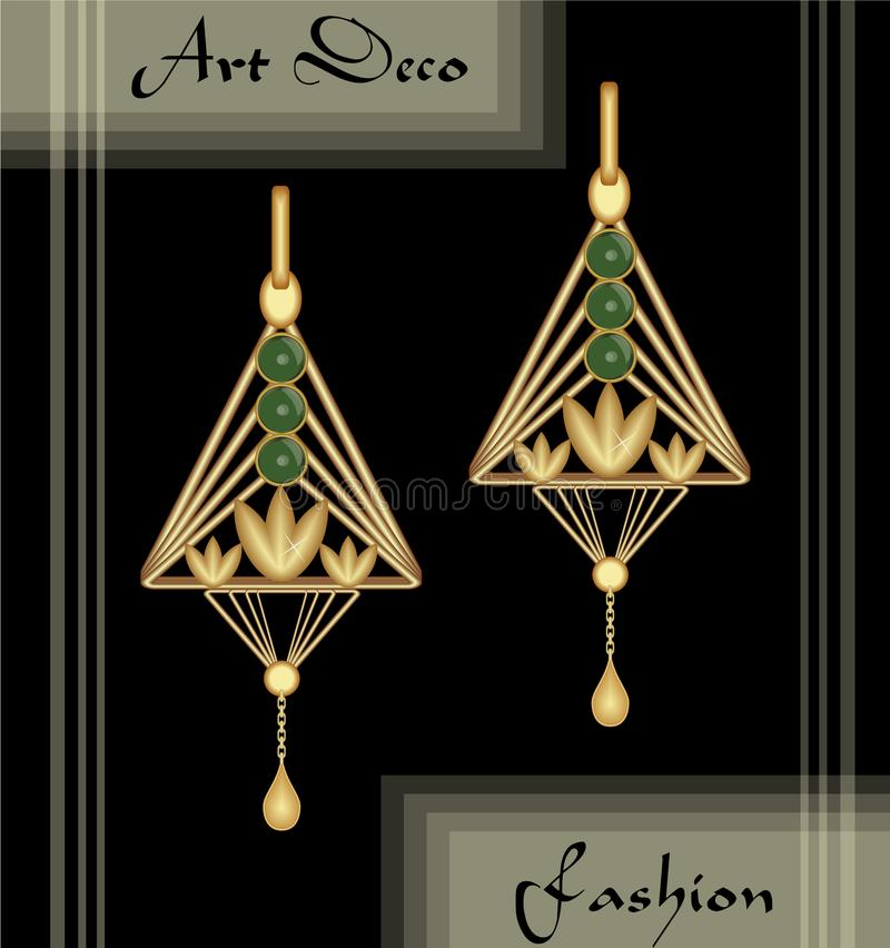 Luxury art deco filigree earrings, jewel with green emerald , antique elegant gold jewelry, fashion in victorian style vector illustration