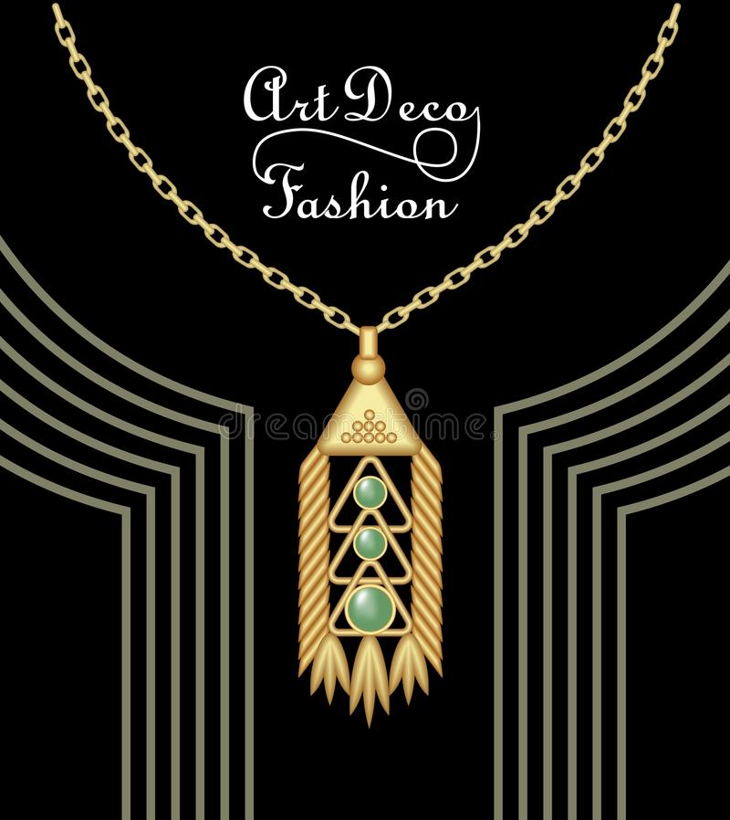 Luxury art deco filigree pendant, jewel with green emerald on golden chain , antique elegant gold jewelry, fashion in stock illustration
