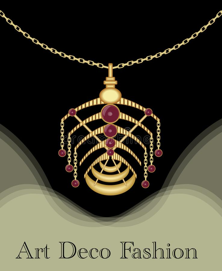 Luxury art deco filigree pendant, unusual jewel with red ruby on golden chain , antique elegant gold jewelry, fashion in. Victorian style EPS 10 stock illustration