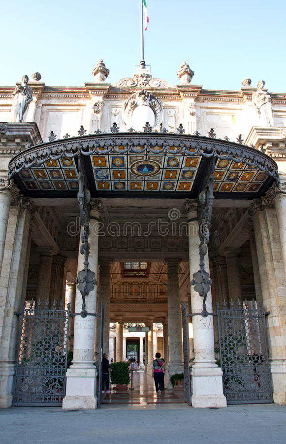 Luxury, artistic entrance of Romanesque building in Montekatini, Italy royalty free stock photos