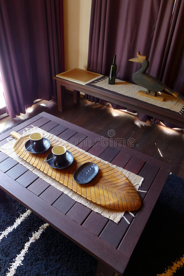 Luxury living room -asian hotel decor. Interior decor in asian style - A photograph showing the living room or sitting room of the family suite in the beautiful stock images