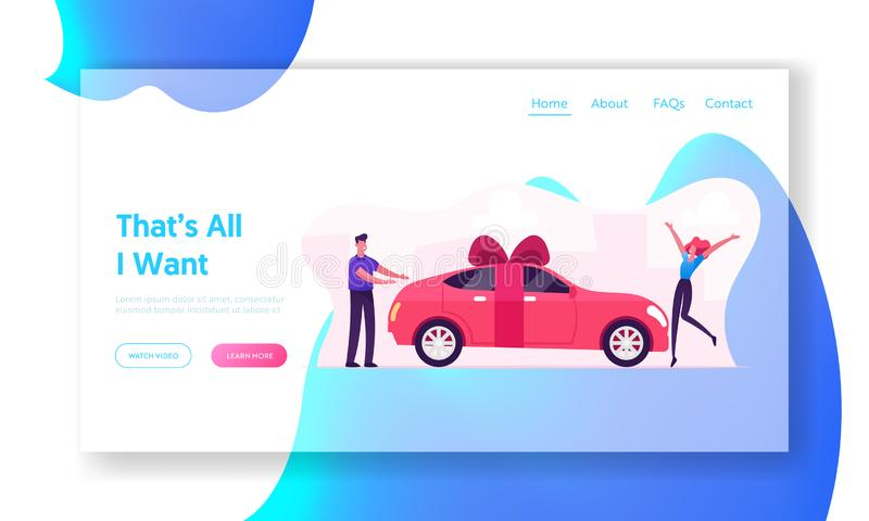 Luxury Automobile Gift for Girlfriend Website Landing Page. Man Giving Car with Bow as Present to Happy Surprised Woman. Stand near Vehicle with Ribbon Web Page stock illustration
