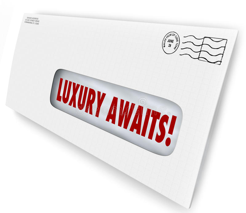 Luxury Awaits Special Exclusive Offer Invitation Mailer Advertisment. Luxury Awaits words in an envelope for special exclusive letter or invitation to VIP sale vector illustration