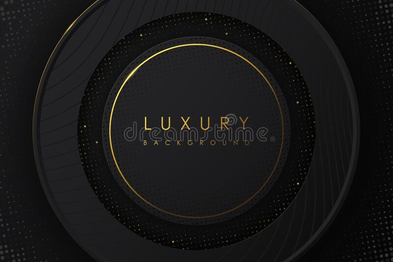 Abstract Luxury background. black and gold color on black background. stock photo