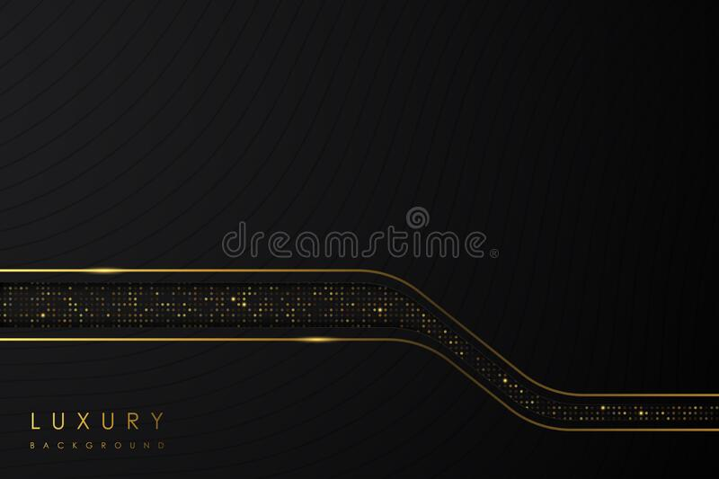 Abstract Luxury background. black shape and gold glitter on black background. stock image