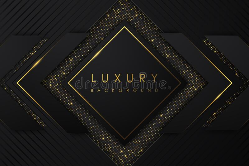 Abstract Luxury background. black shape and gold glitter on black background. royalty free stock photo