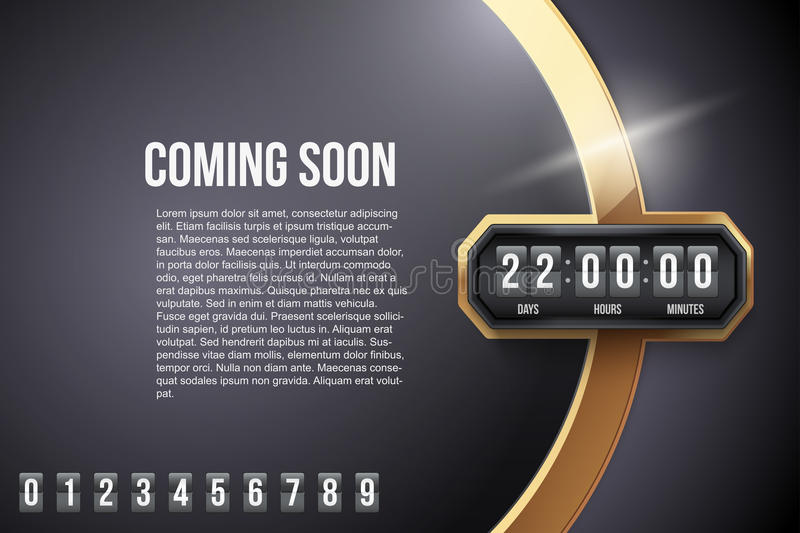 Luxury Background Coming Soon and countdown timer. With digit samples. Vector Illustration on white background stock illustration