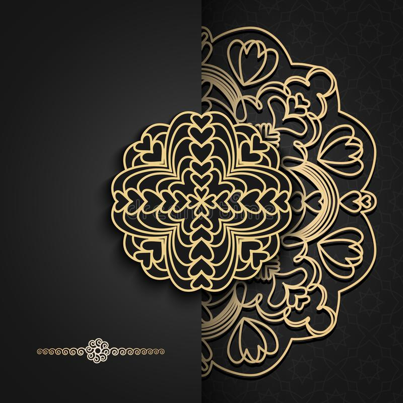 Luxury background with Oriental mandala.For holiday party, new year cards, yoga wallpaper, beauty spa salon ornament, wedding stock illustration