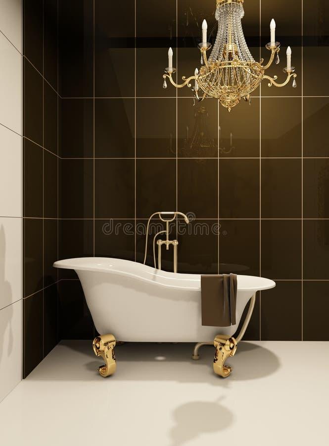 Luxury bath in bathroom stock illustration