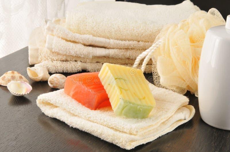 Luxury bath soaps stock images