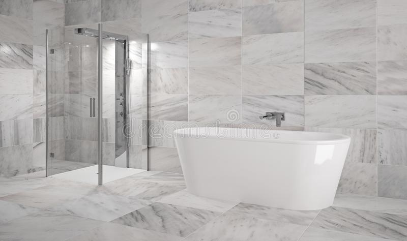 Luxury bathroom with bathtub and marble tiles - Illustration. Luxury bathtub in bathroom with marble tiles - interior Illustration stock illustration