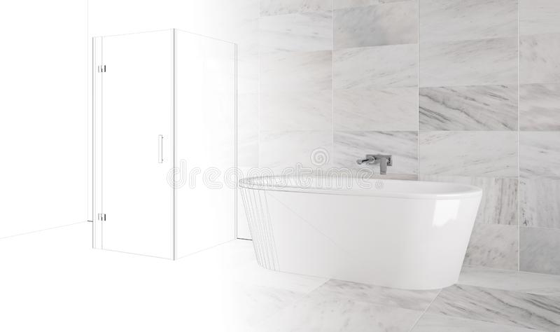 Luxury bathroom with bathtub and marble tiles - Illustration. Luxury bathtub in bathroom with marble tiles - interior Illustration royalty free illustration