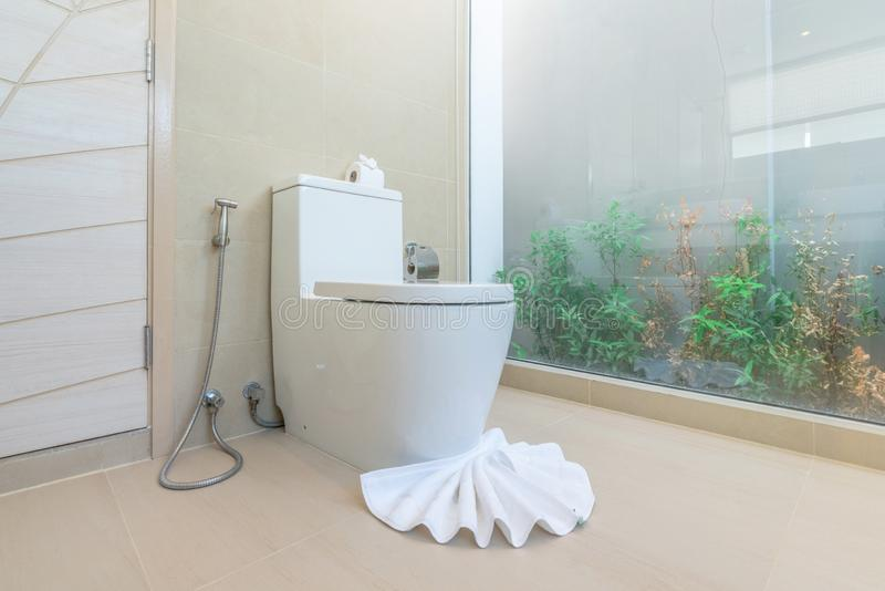 Luxury bathroom feature toilet bowl home, house ,building. Luxury bathroom feature toilet bowl home house building royalty free stock photos