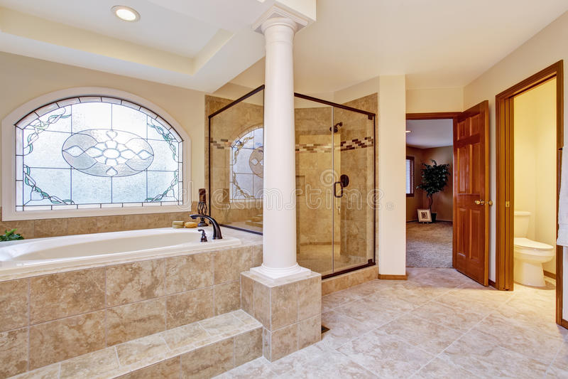 Luxury bathroom interior with columns stock photo image for Luxus shower doors