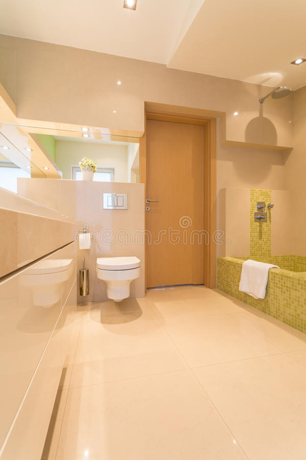 Luxury bathroom in large residence. Luxury and spacious bathroom in large residence royalty free stock photography