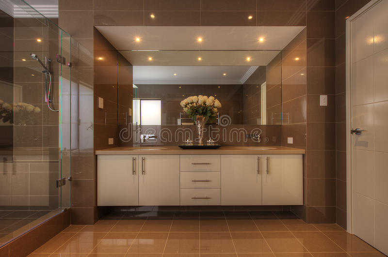 Luxury bathroom in modern home stock photography