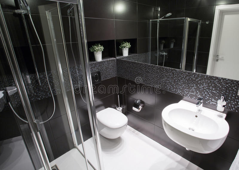 Luxury bathroom with shower stock images
