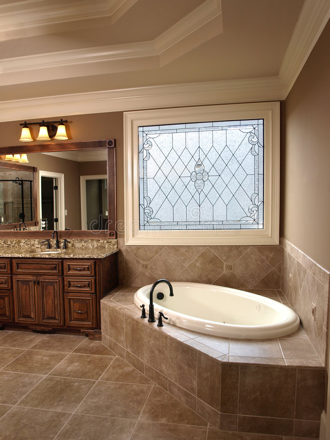 Luxury Bathroom with Stained Glass royalty free stock image