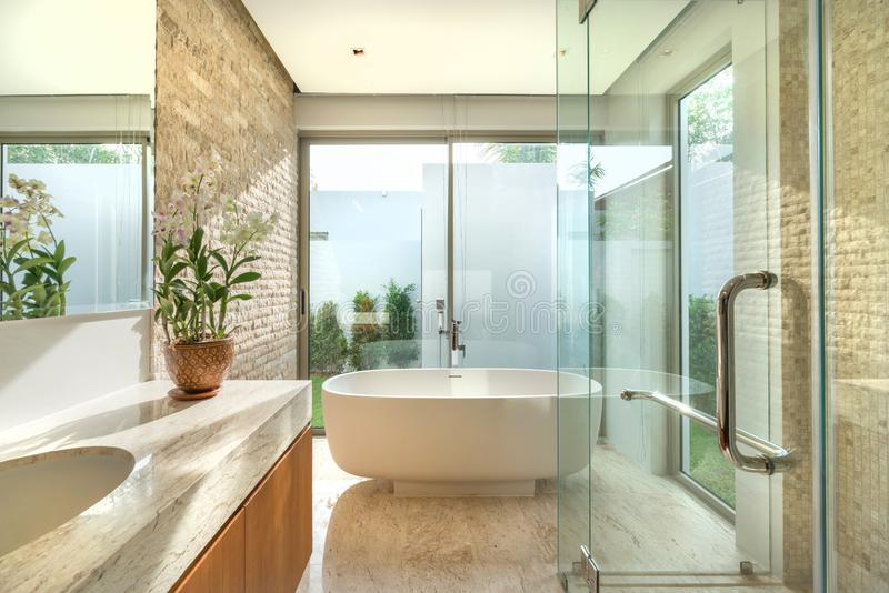 Luxury beautiful interior real bathroom features basin with bright space royalty free stock images