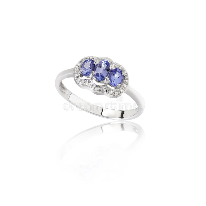 Download Luxury And Beautiful Sapphire Ring On White Stock Image - Image: 28150153