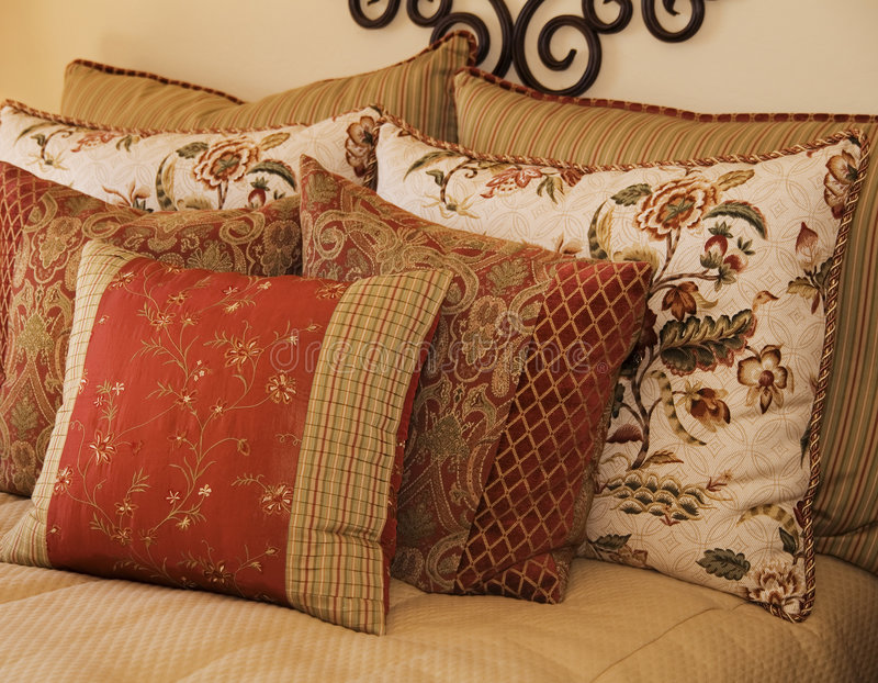 Luxury Bedding and Cushions royalty free stock photography
